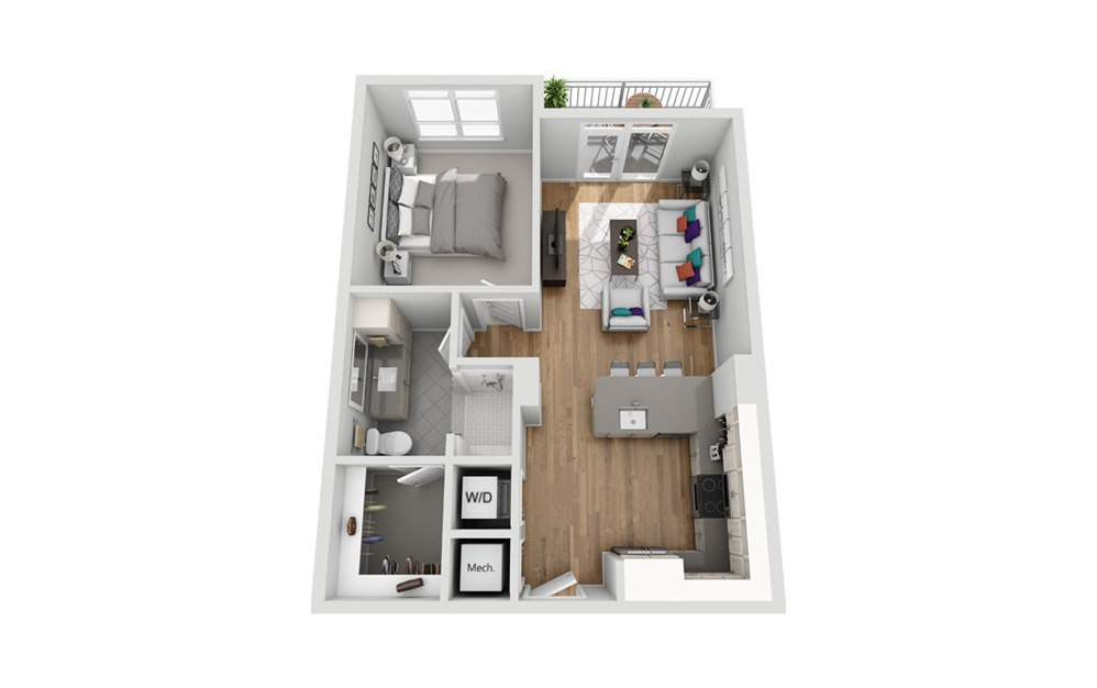1L - Phase I - 1 bedroom floorplan layout with 1 bath and 702 square feet.