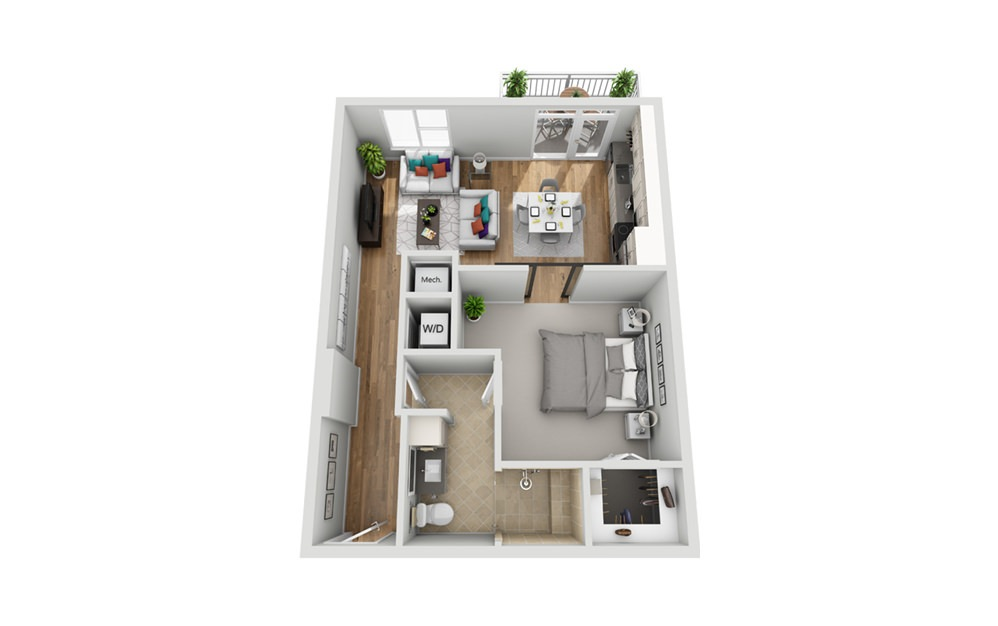 1M - Phase I - 1 bedroom floorplan layout with 1 bath and 732 square feet.
