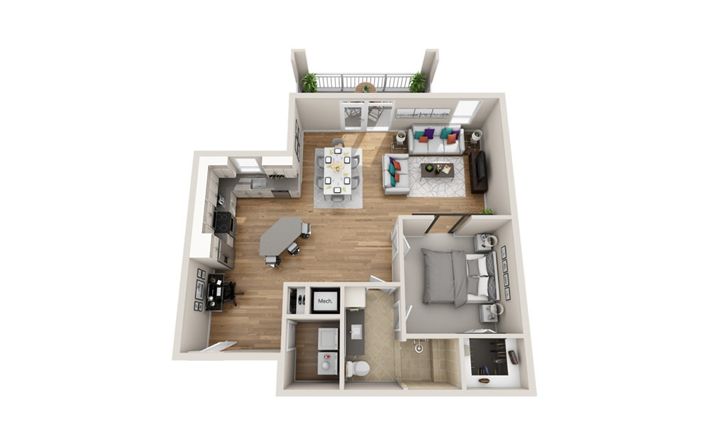 1MA - Phase I - 1 bedroom floorplan layout with 1 bath and 924 square feet.