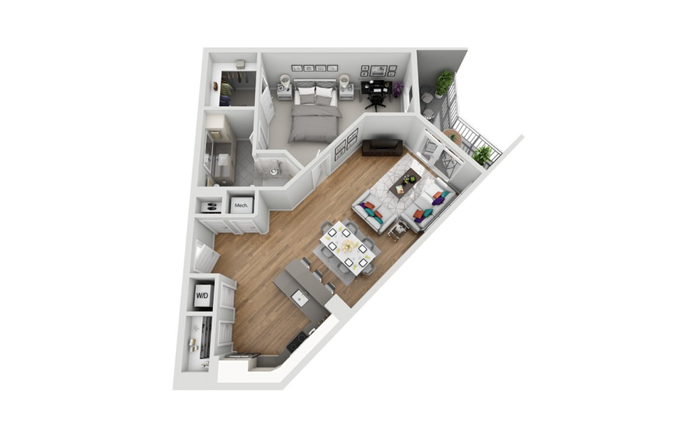1MC - Phase I - 1 bedroom floorplan layout with 1 bath and 840 square feet.