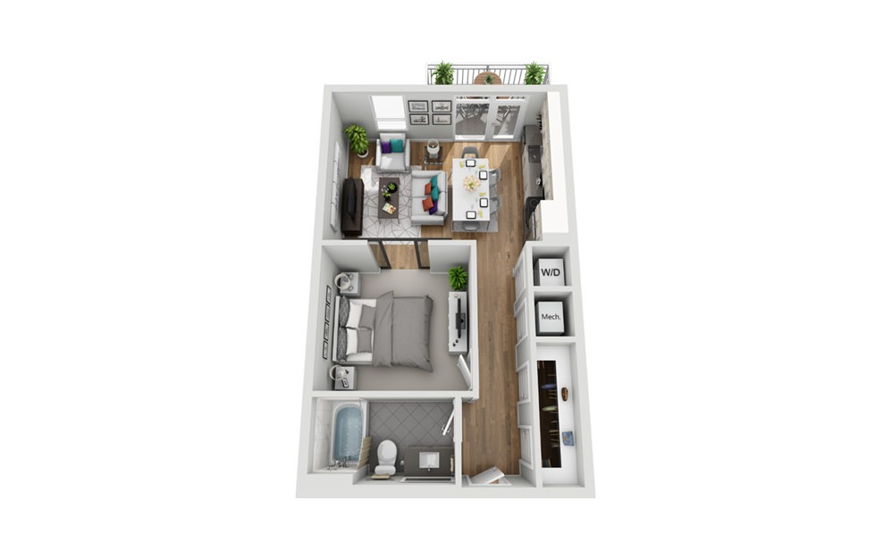 1S - Phase I - Studio floorplan layout with 1 bath and 607 square feet.
