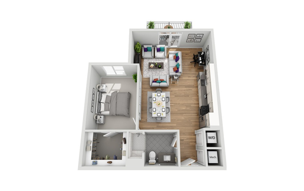 1S-2 - Phase I - 1 bedroom floorplan layout with 1 bath and 825 square feet.
