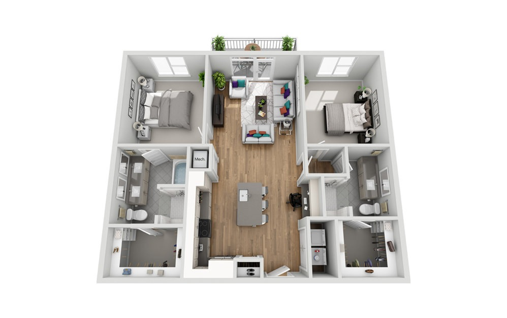 2M - Phase I - 2 bedroom floorplan layout with 2 baths and 1152 square feet.