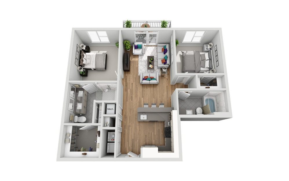 2MA - Phase I - 2 bedroom floorplan layout with 2 baths and 1039 square feet.