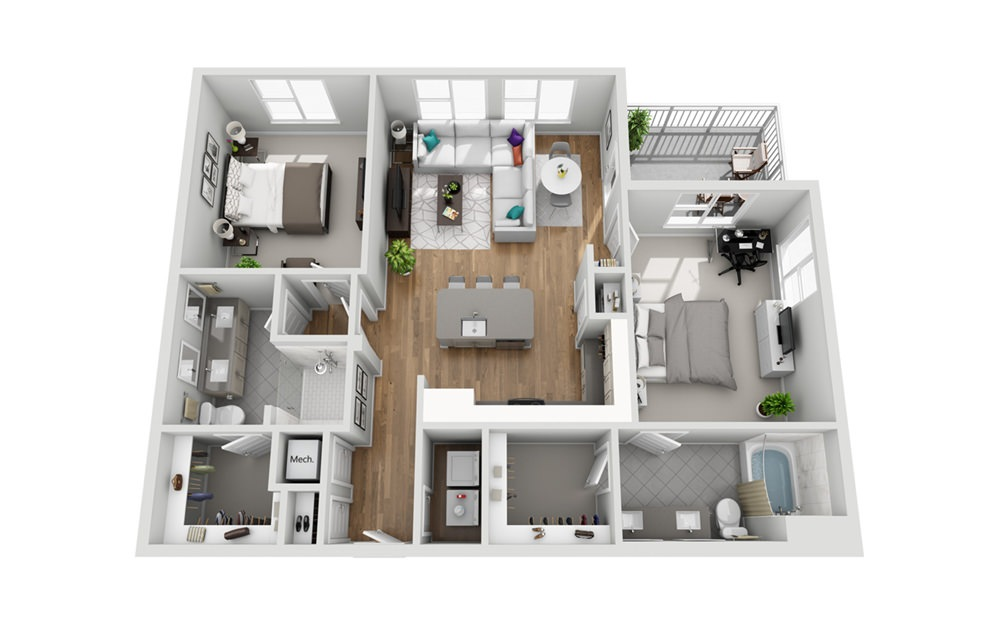 2MCB - Phase I - 2 bedroom floorplan layout with 2 baths and 1152 square feet.