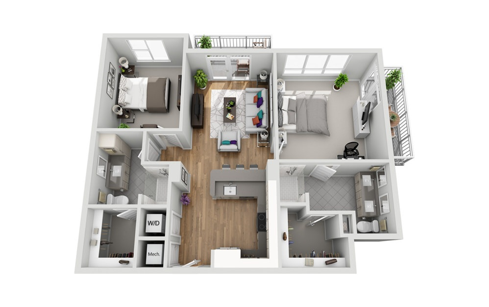 2MD - Phase I - 2 bedroom floorplan layout with 2 baths and 1071 square feet.