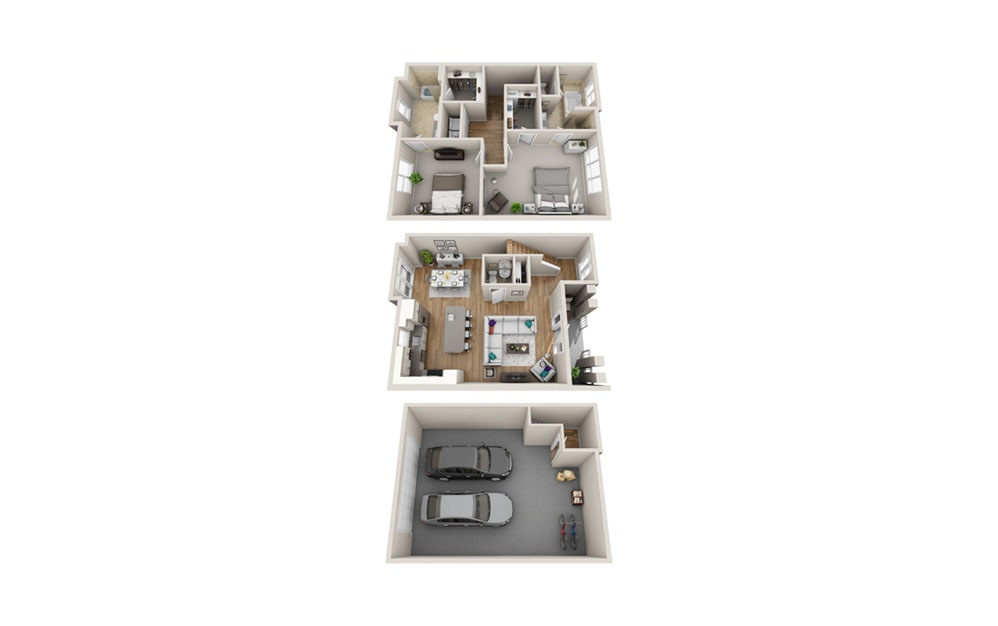 2M THS - 2 bedroom floorplan layout with 2 baths and 1513 square feet.