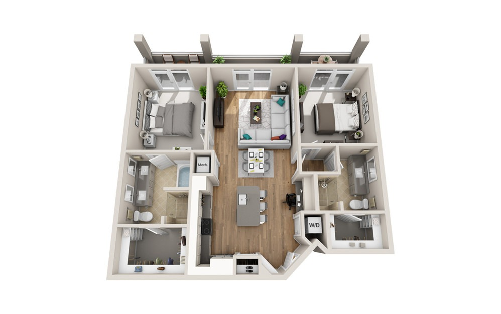 2MWU - Phase I - 2 bedroom floorplan layout with 2 baths and 1104 square feet.