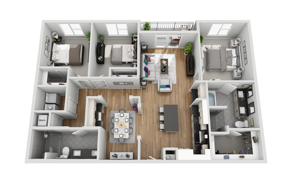 3L - Phase I - 3 bedroom floorplan layout with 2 baths and 1419 square feet.