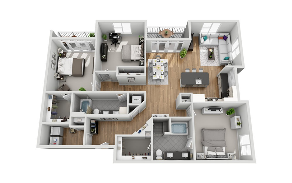 3LC - Phase I - 3 bedroom floorplan layout with 2 baths and 1709 square feet.
