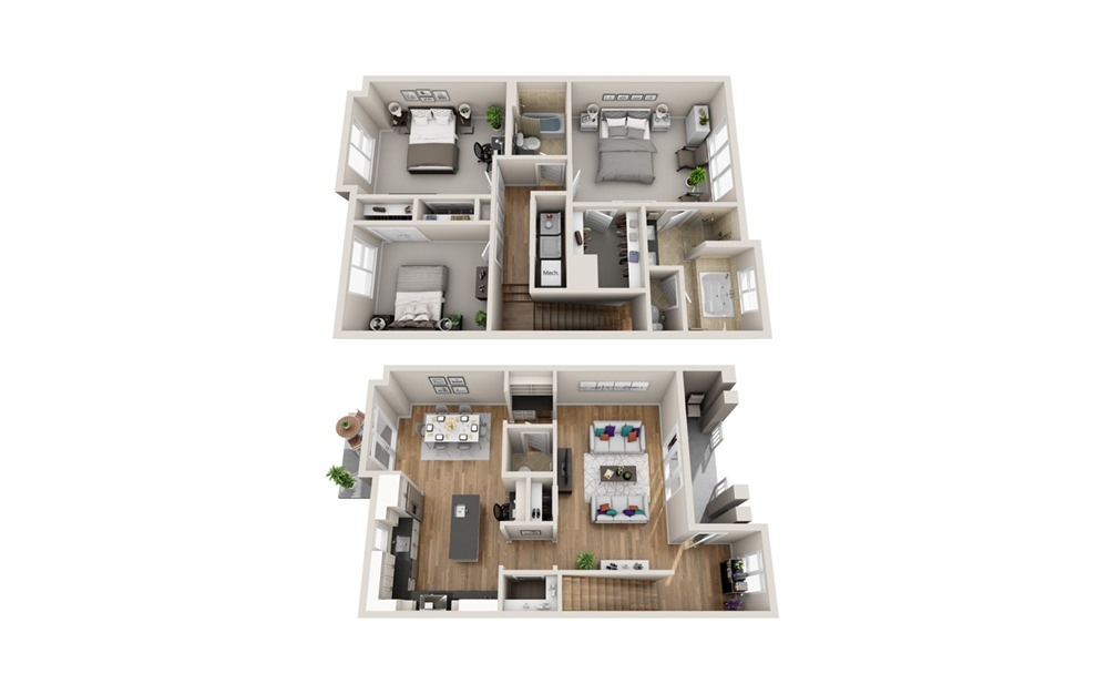 3M - 3 bedroom floorplan layout with 2 baths and 1709 to 1754 square feet.
