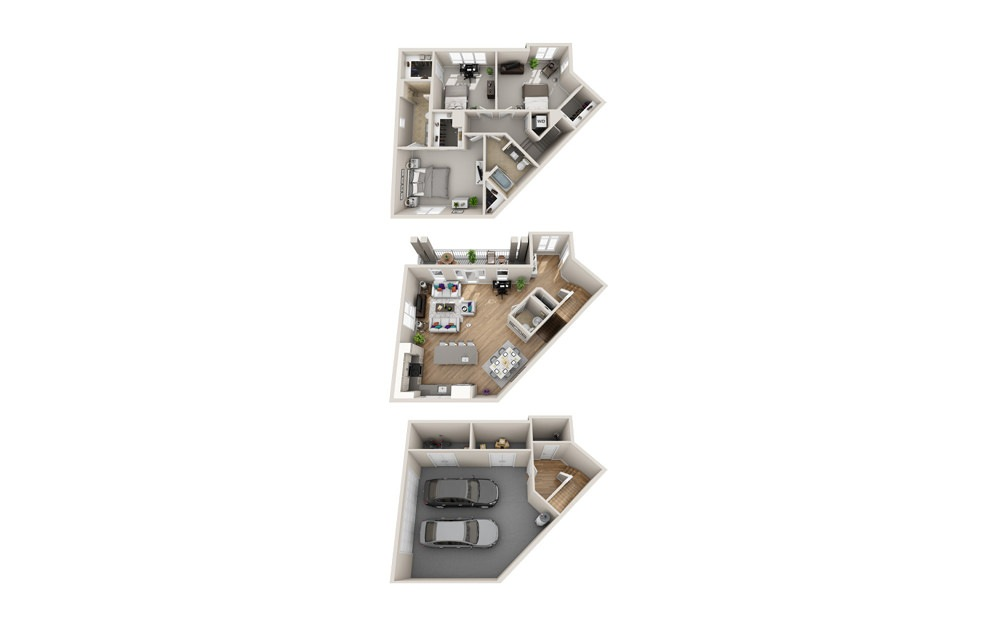 3MC - THS - 3 bedroom floorplan layout with 2.5 baths and 1709 square feet.