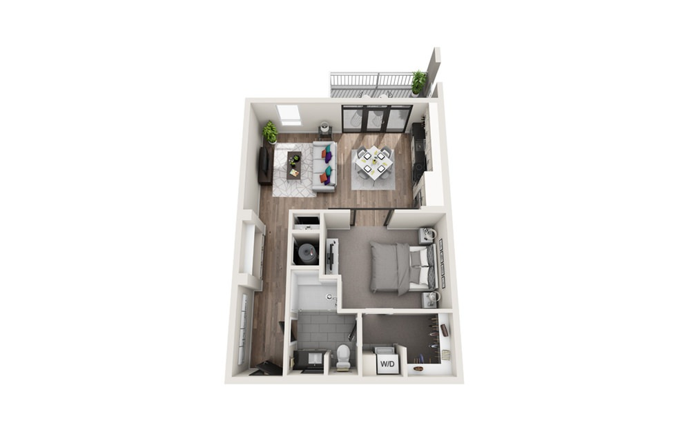 A1 - Phase II - 1 bedroom floorplan layout with 1 bath and 752 square feet.