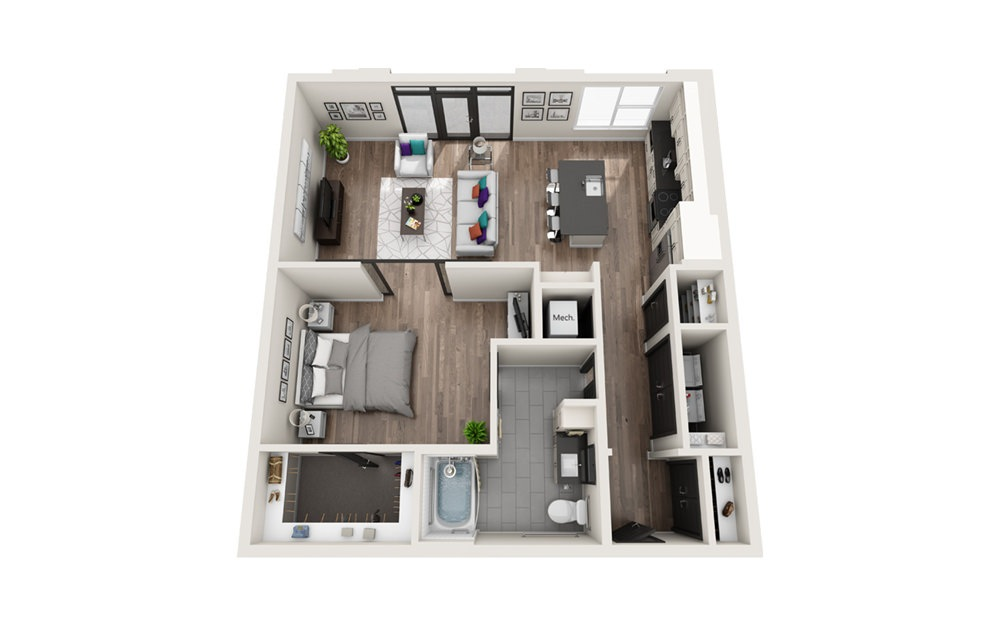 A10 HC - Phase II - 1 bedroom floorplan layout with 1 bath and 957 square feet.