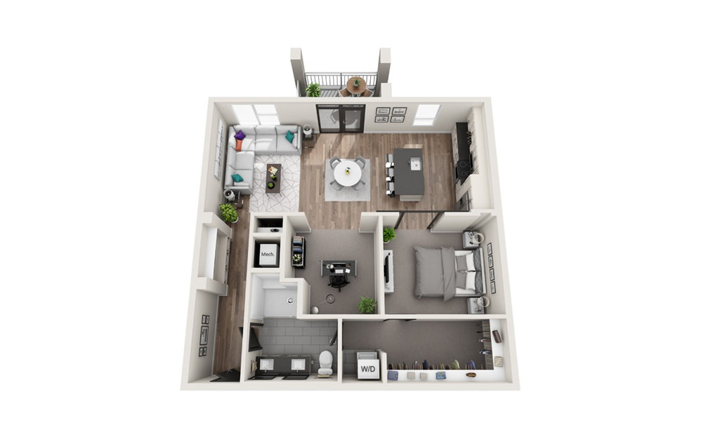 A2 - Phase II - 1 bedroom floorplan layout with 1 bath and 1049 square feet.