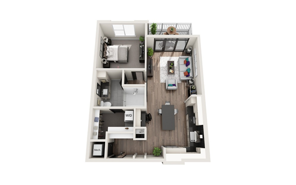 A3 - Phase II - 1 bedroom floorplan layout with 1 bath and 804 square feet.