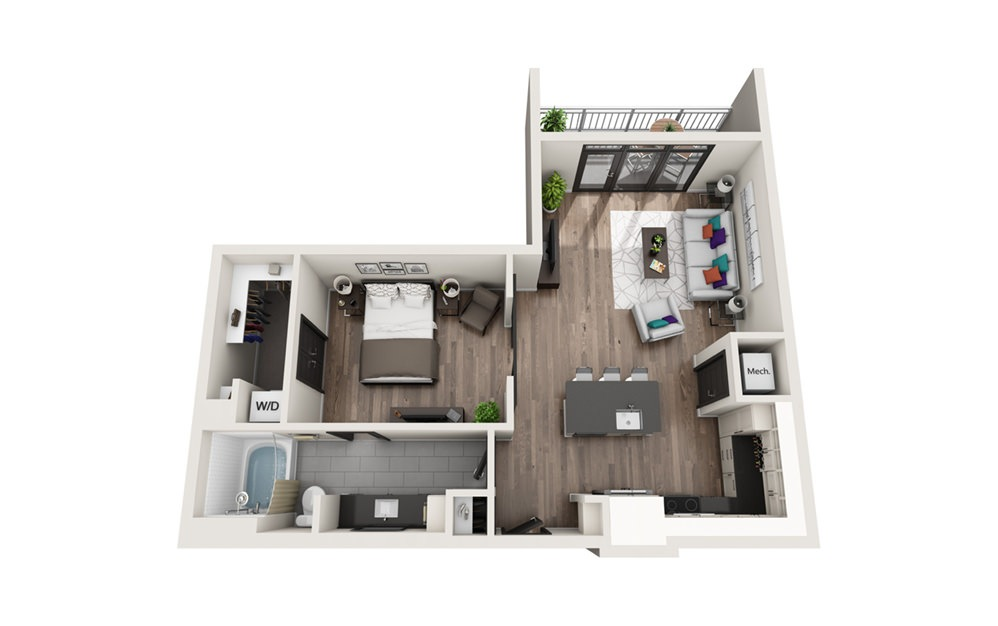 A4 - Phase II - 1 bedroom floorplan layout with 1 bath and 769 square feet.