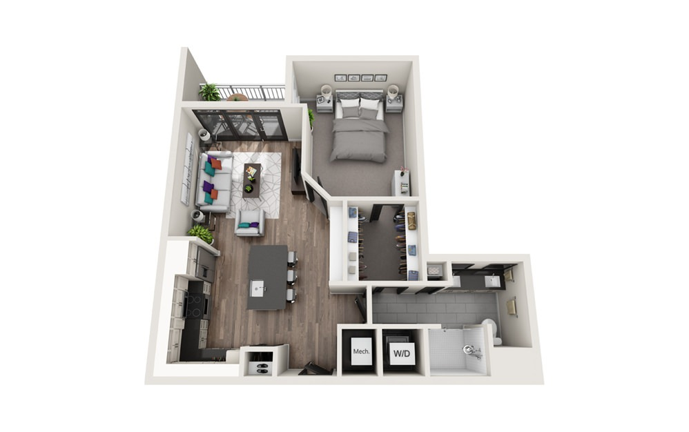 A5 - Phase II - 1 bedroom floorplan layout with 1 bath and 791 square feet.