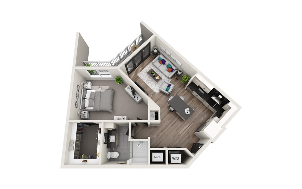 A6 - Phase II - 1 bedroom floorplan layout with 1 bath and 829 square feet.