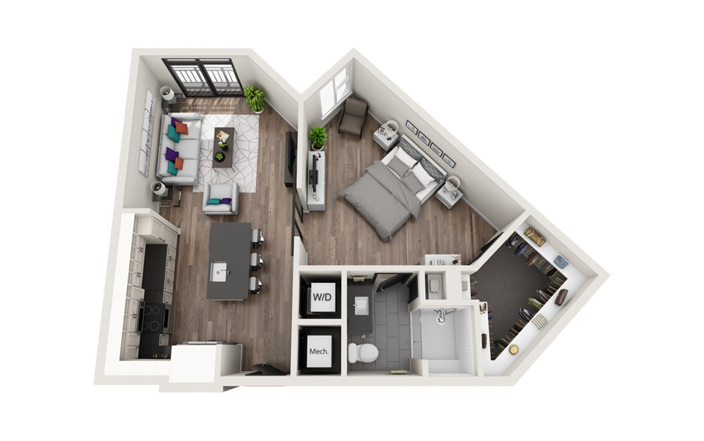 A7 - Phase II - 1 bedroom floorplan layout with 1 bath and 774 square feet.
