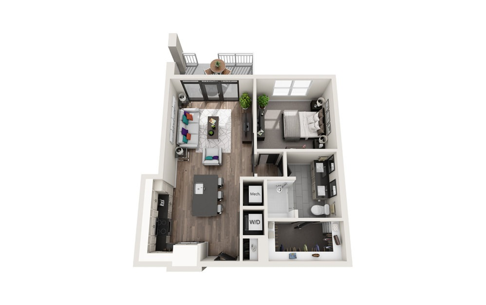 A8 - Phase II - 1 bedroom floorplan layout with 1 bath and 712 square feet.