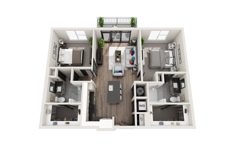 B1 - Phase II - 2 bedroom floorplan layout with 2 baths and 1032 square feet.