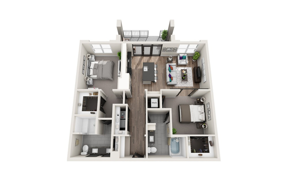 B2 - Phase II - 2 bedroom floorplan layout with 2 baths and 1209 square feet.