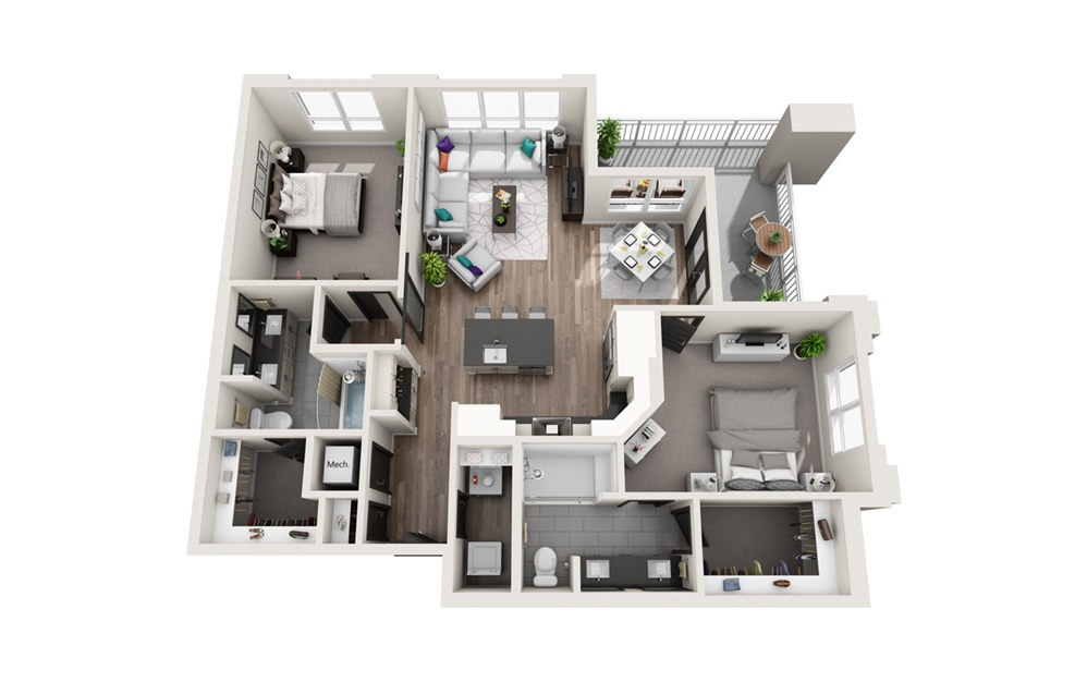 B3 - Phase II - 2 bedroom floorplan layout with 2 baths and 1230 square feet.