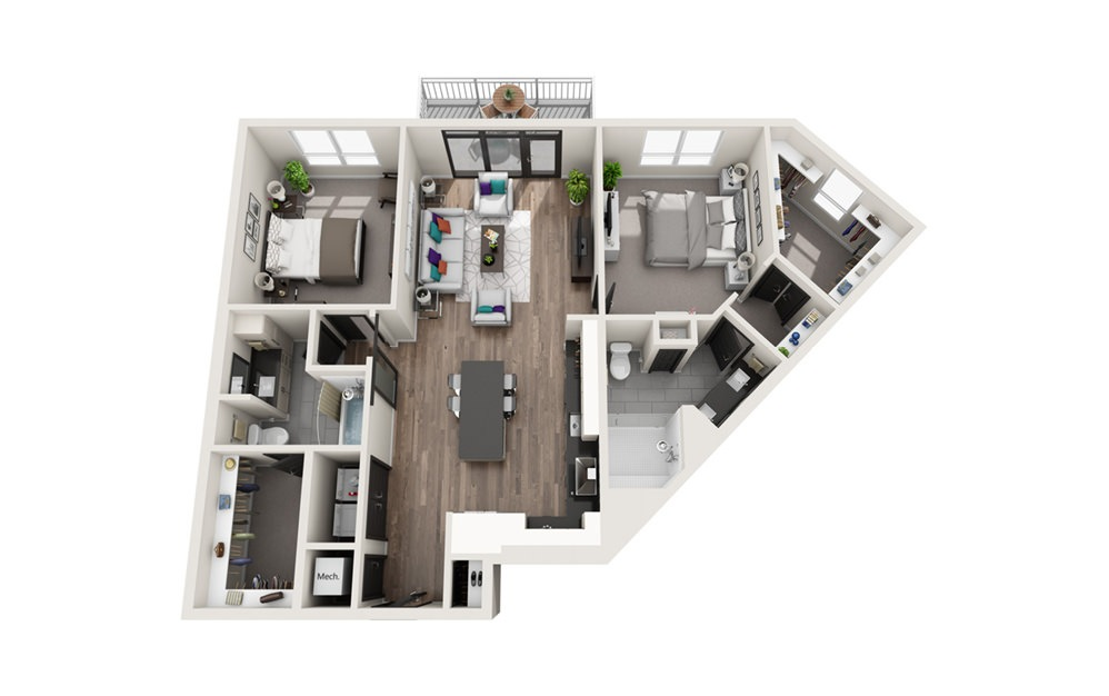 B4 - Phase II - 2 bedroom floorplan layout with 2 baths and 1301 square feet.