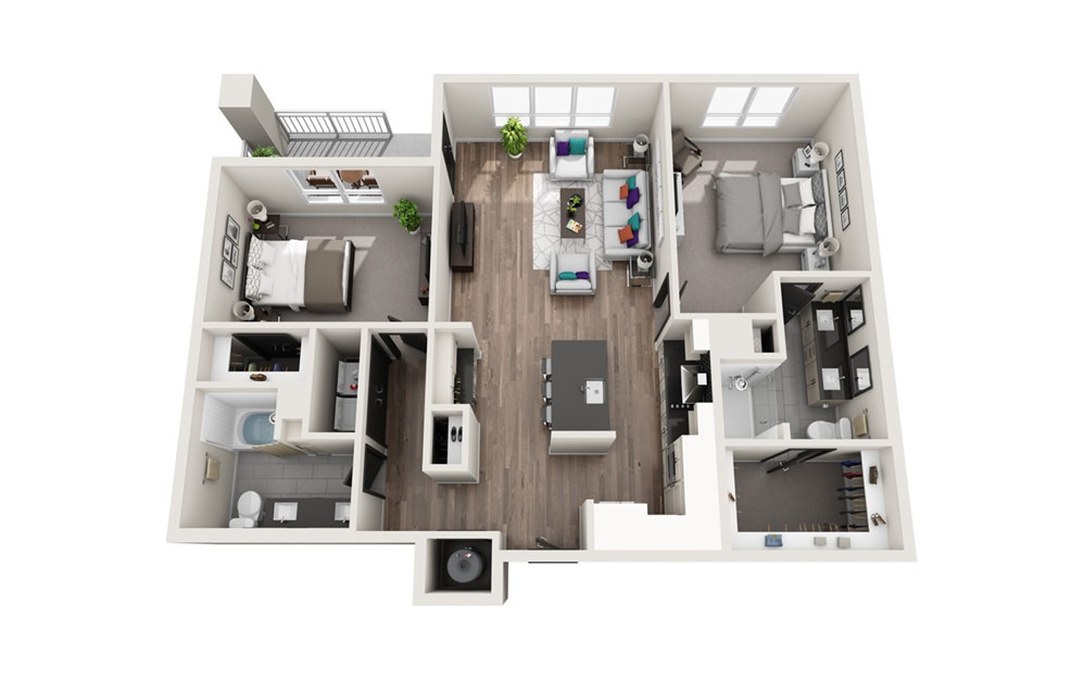 B5 - Phase II - 2 bedroom floorplan layout with 2 baths and 1291 square feet.