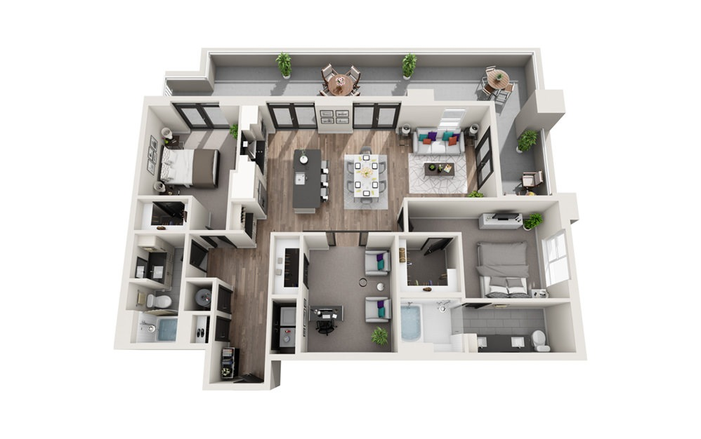 B6 - Phase II - 2 bedroom floorplan layout with 2 baths and 1498 square feet.