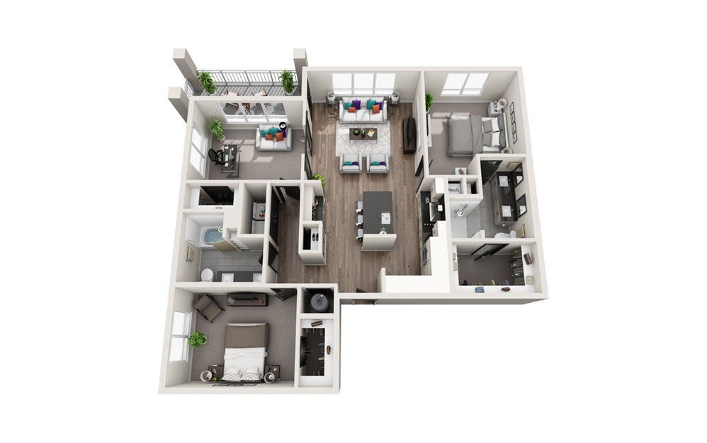 C1 - Phase II - 3 bedroom floorplan layout with 2 baths and 1510 square feet.