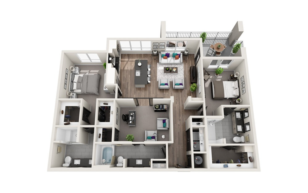 C2 - Phase II - 3 bedroom floorplan layout with 3 baths and 1570 square feet.