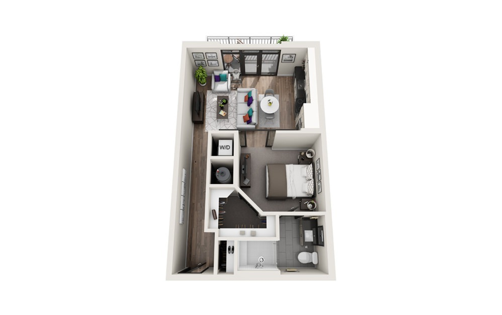 S1 - Phase II - Studio floorplan layout with 1 bath and 629 square feet.