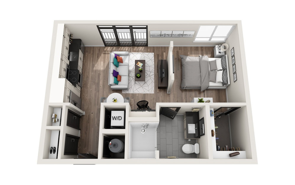 S2 - Phase II - Studio floorplan layout with 1 bath and 616 square feet.