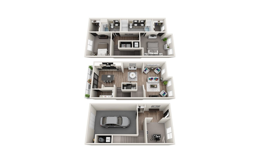 TH2 - Phase II - 2 bedroom floorplan layout with 2.5 baths and 1870 square feet.