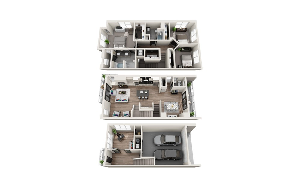 TH3 - Phase II - 3 bedroom floorplan layout with 2.5 baths and 2110 square feet.